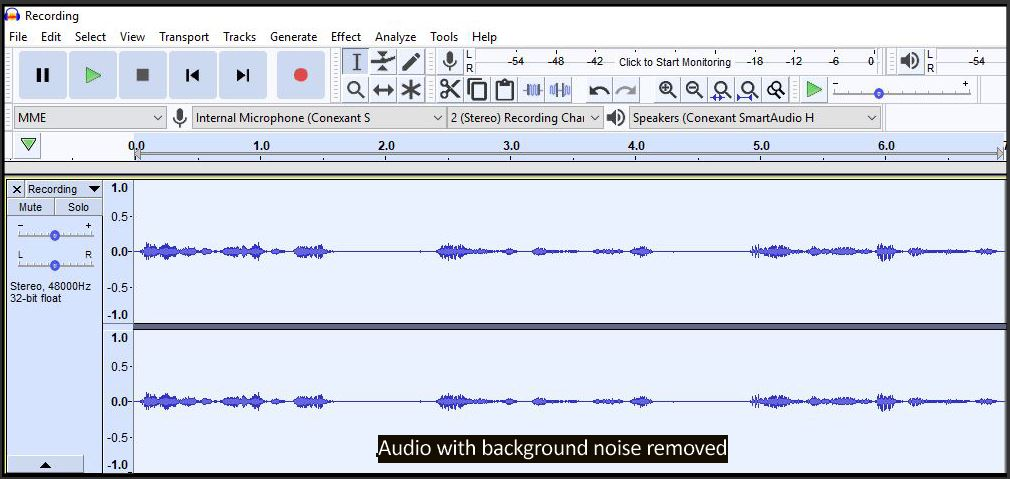 Audacity Background Remove Tool