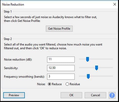 Audacity Noise Reducation window