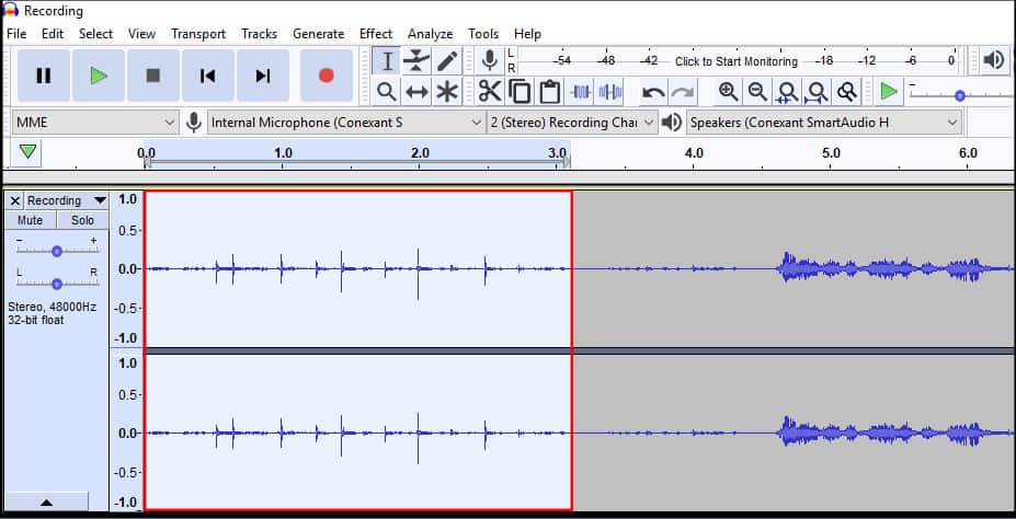 Audacity Select Noise Section