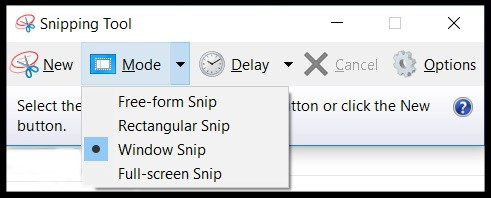 MS Snipping Tool Modes
