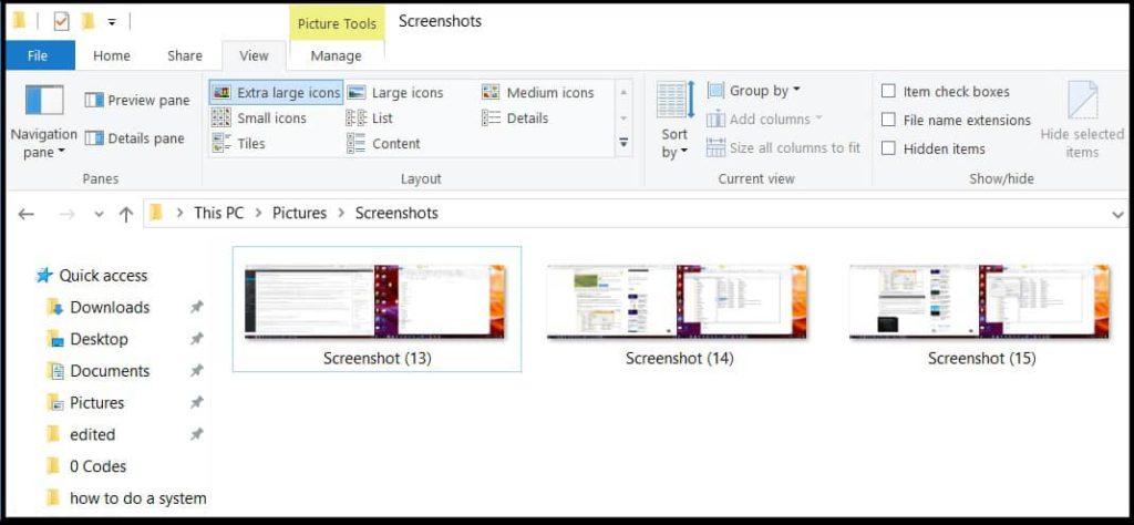 Screenshot filenames