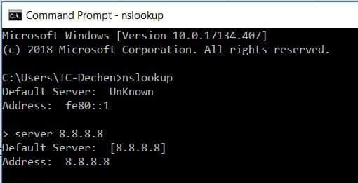 Use NSLOOKUP Server