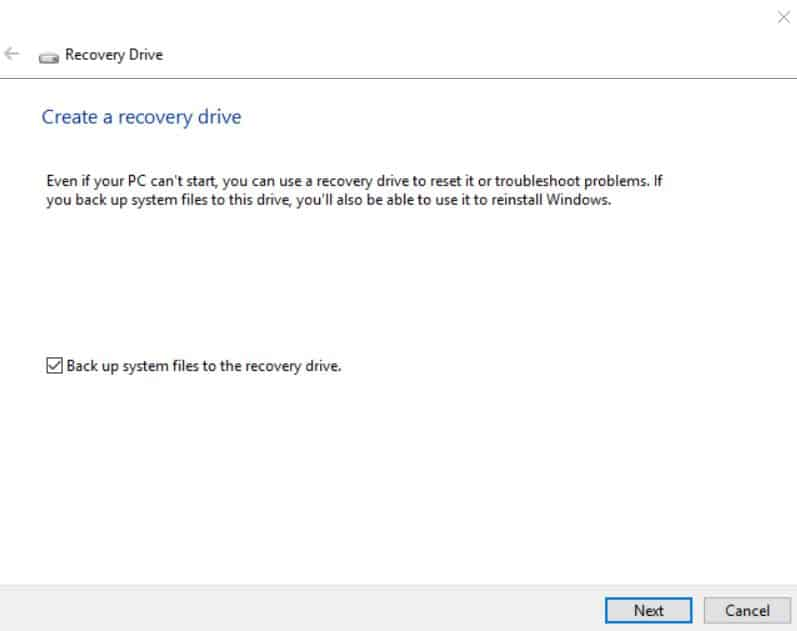 Wiindows 10 Create a recovery drive