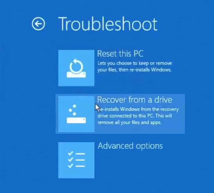 Windows 10 Recover from a drive option
