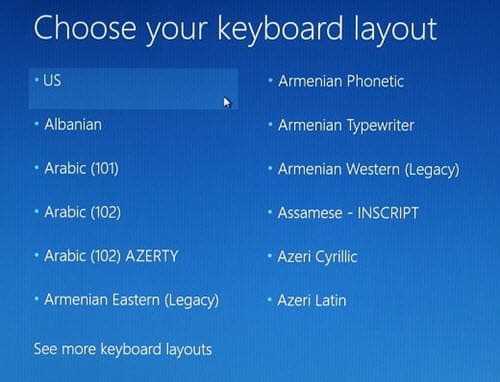 Windows 10 Recovery Keyboard Layout