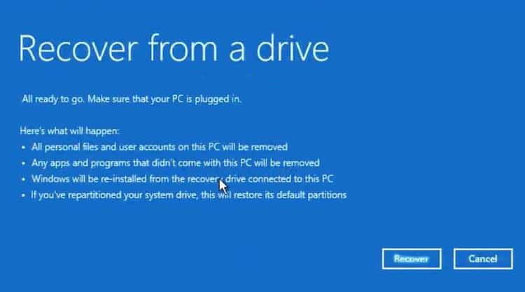 Windows 10 Recovery recover from a drive