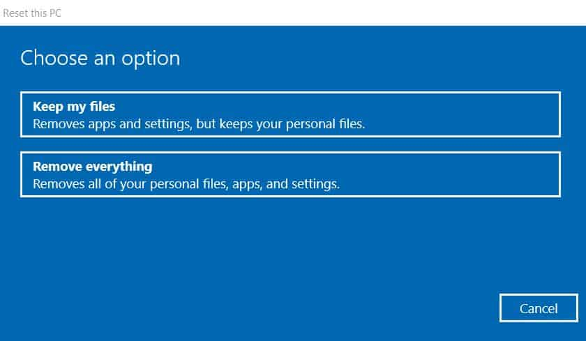 Windows 10 Reset Options