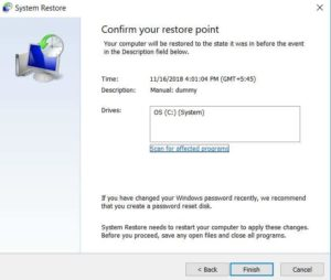 Windows 10 System restore confirm