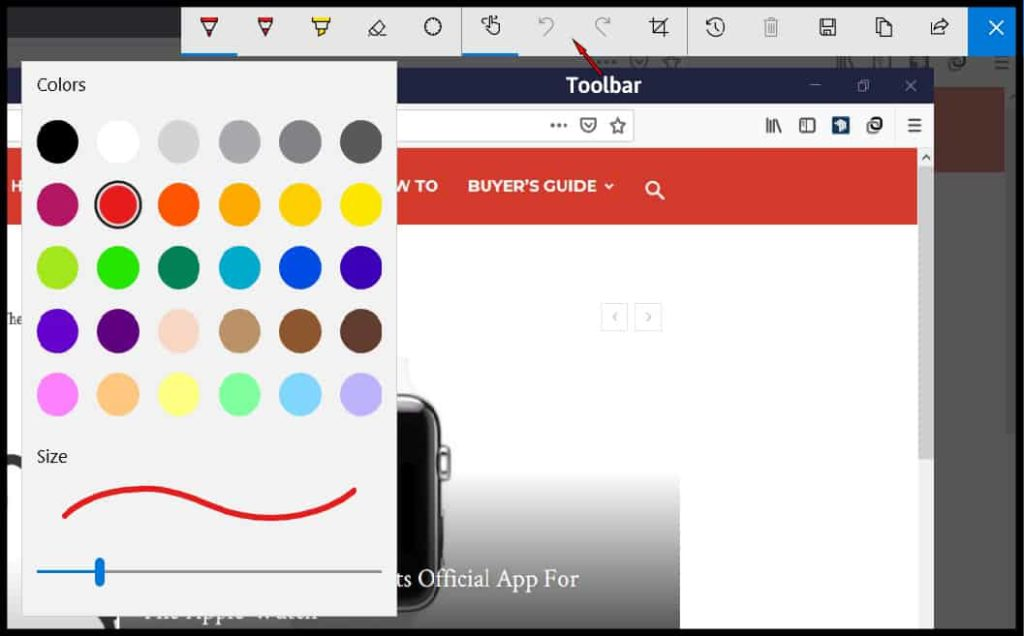 Windows Ink Screen Sketch Toolbar