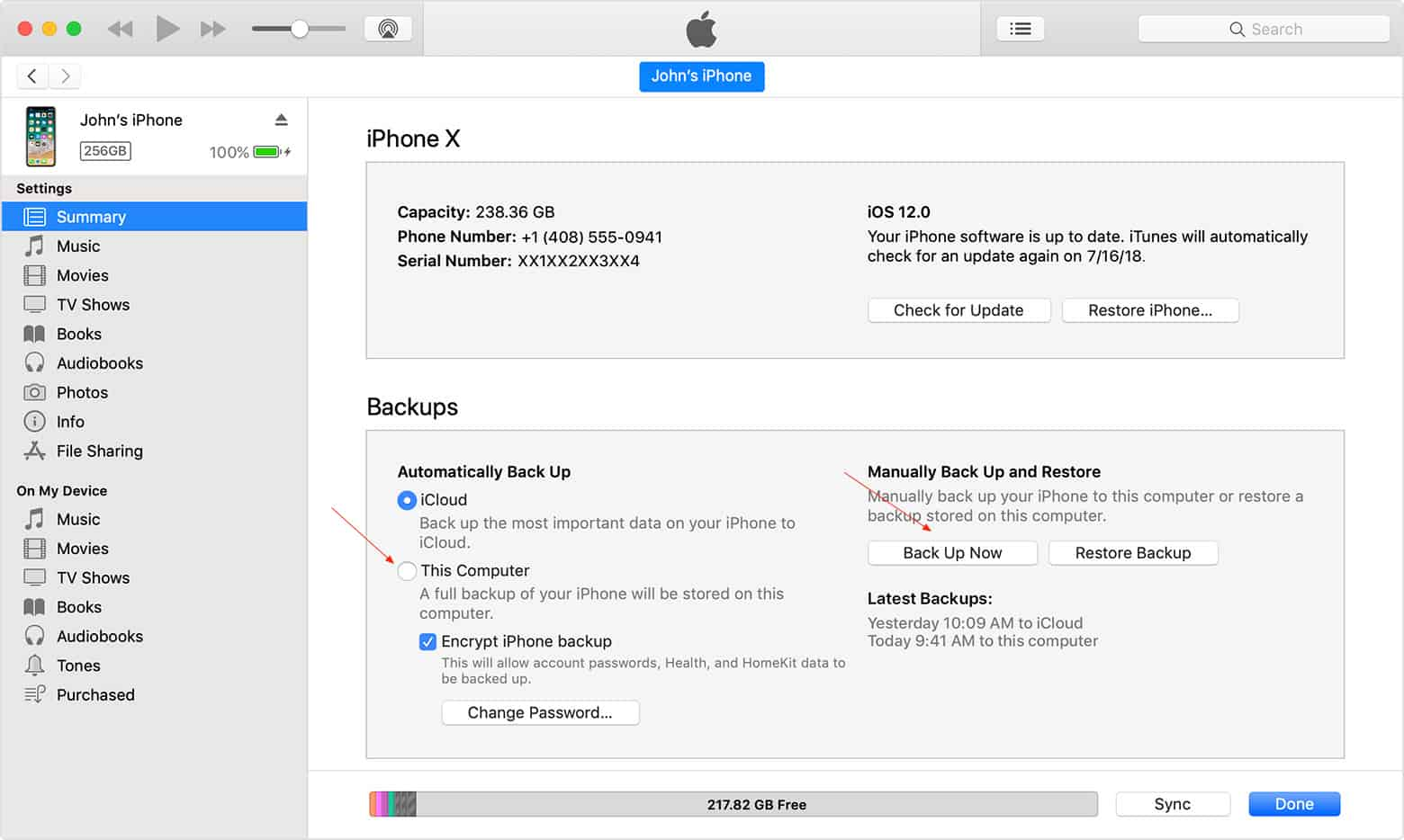 iPhone Backup using iTunes
