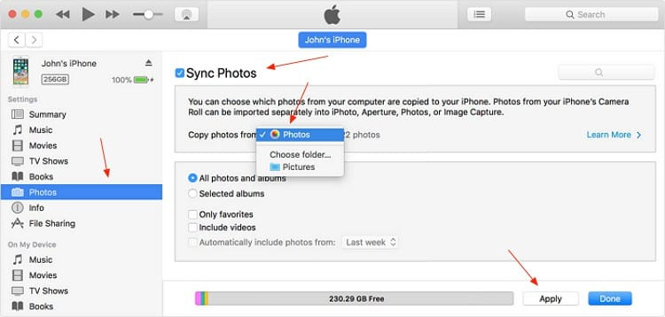 iPhone Recover Deleted Photos iTunes Syncing
