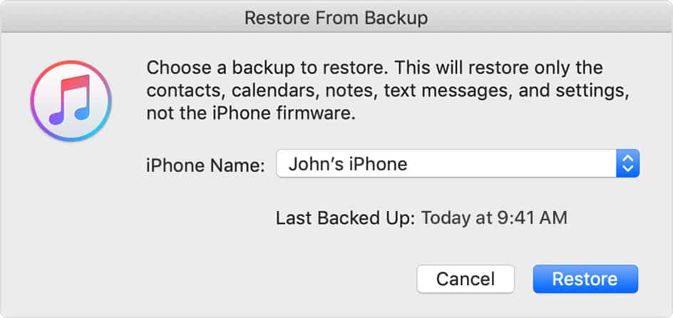 iPhone Restore Back up from iTunes 2