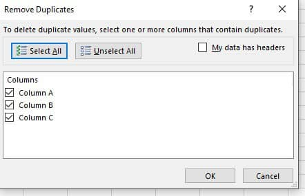 Duplicate Values Excel