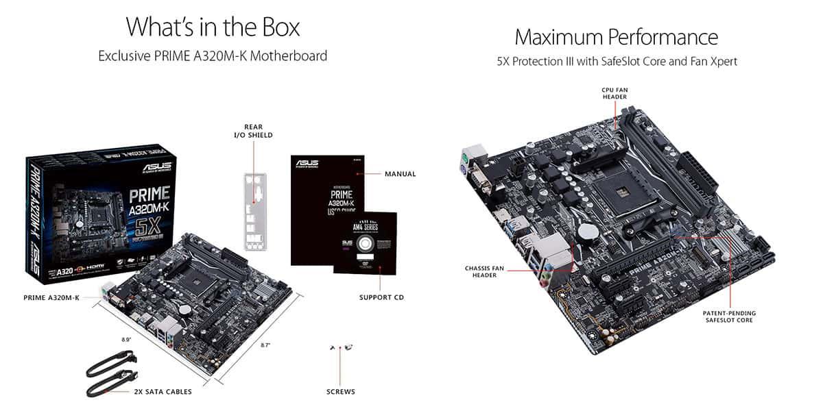 Best A320 Motherboard (AMD) – ASUS PRIME A320M-K