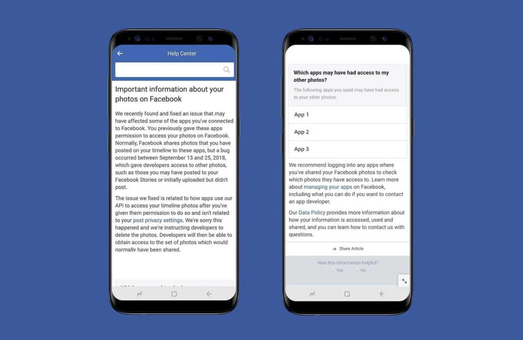 Facebook Photo Bug Notification
