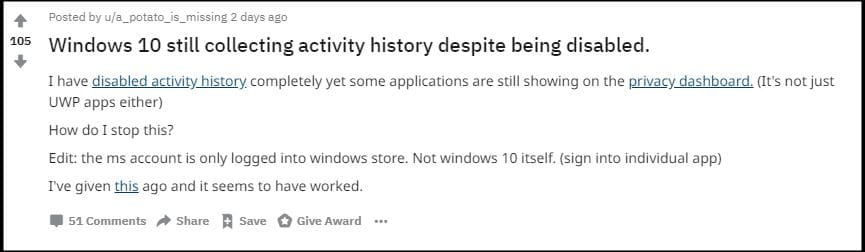 Microsoft Collect Windows Activity History Reddit
