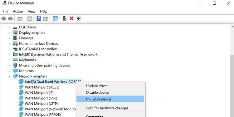 Unstall Network Adapter