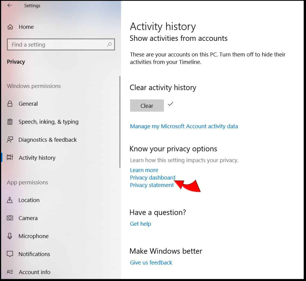 Windows 10 Activity History Privacy dashboard