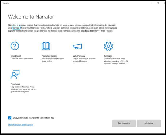 Windows 10 Build 18298 Narrator Improvements