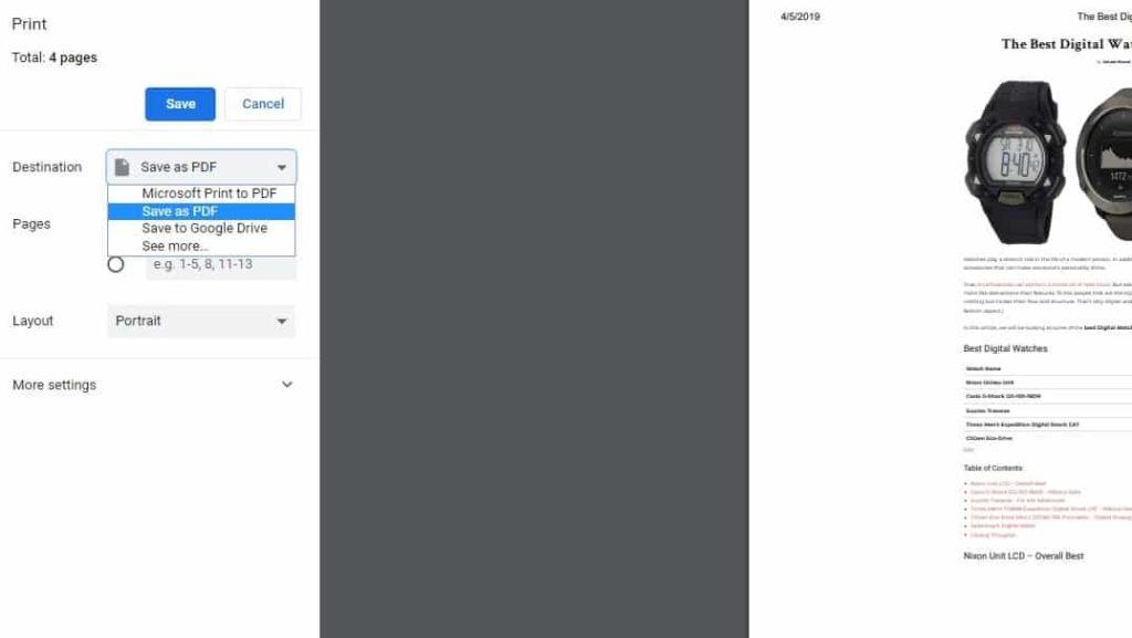 Webpage to PDF