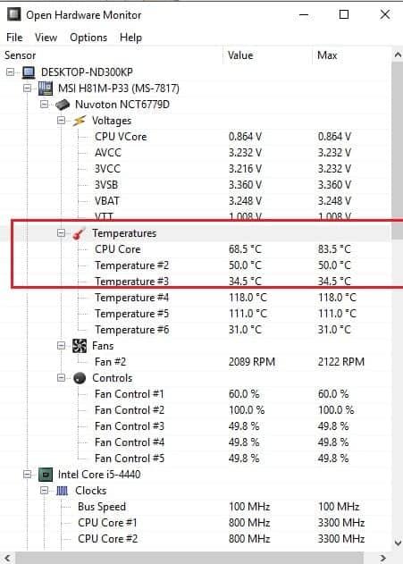 check CPU temperature 1