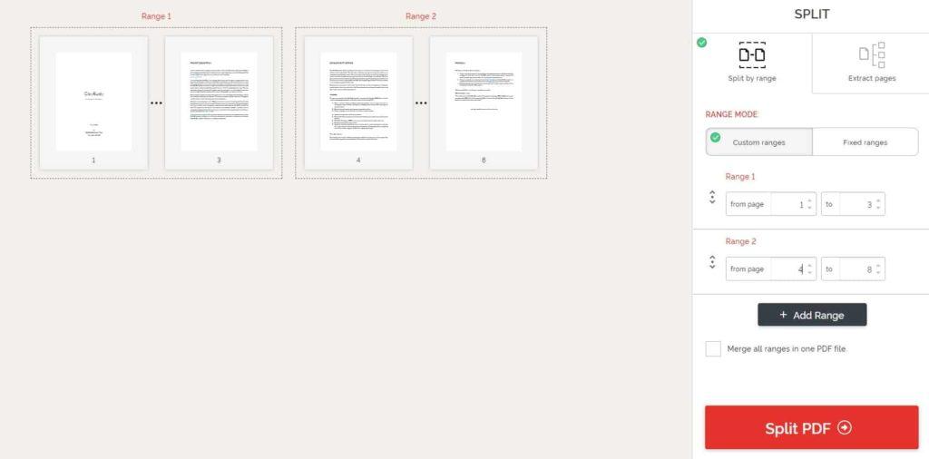 Split a PDF file into multiple files
