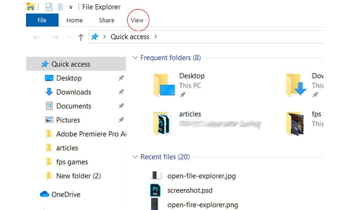 fire-explorer-view-how to view hidden files on windows 10
