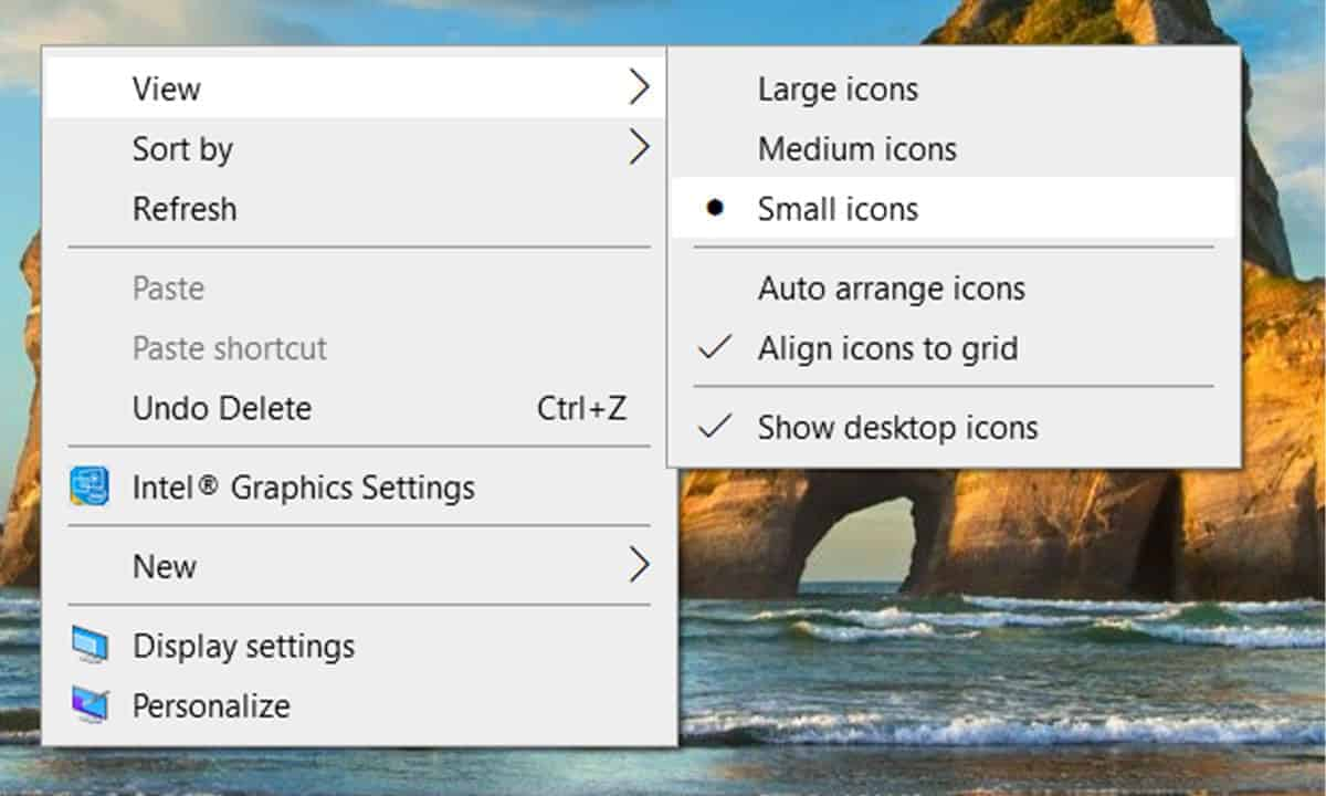 view select icon how to change desktop icon size