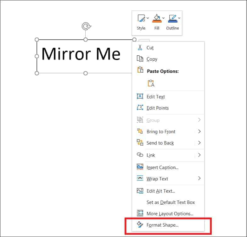 How to Mirror text in word Step 3