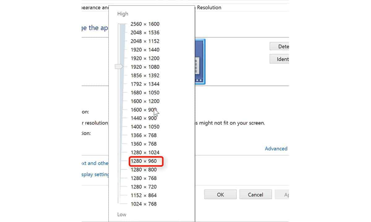 resolution drop down how to check laptop resolution