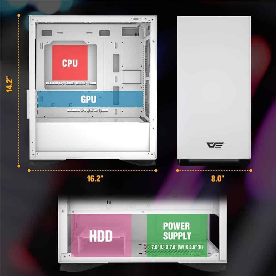 darkFlash Micro ATX Mini ITX Tower Interior