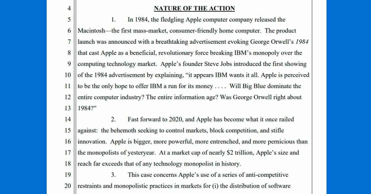 Epic Games sue vs. Apple in full