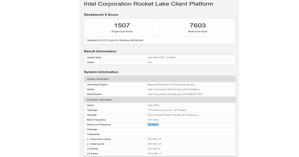 Intel Rocketlake performance