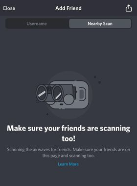 On the Add Friend page, click on Nearby Scan.