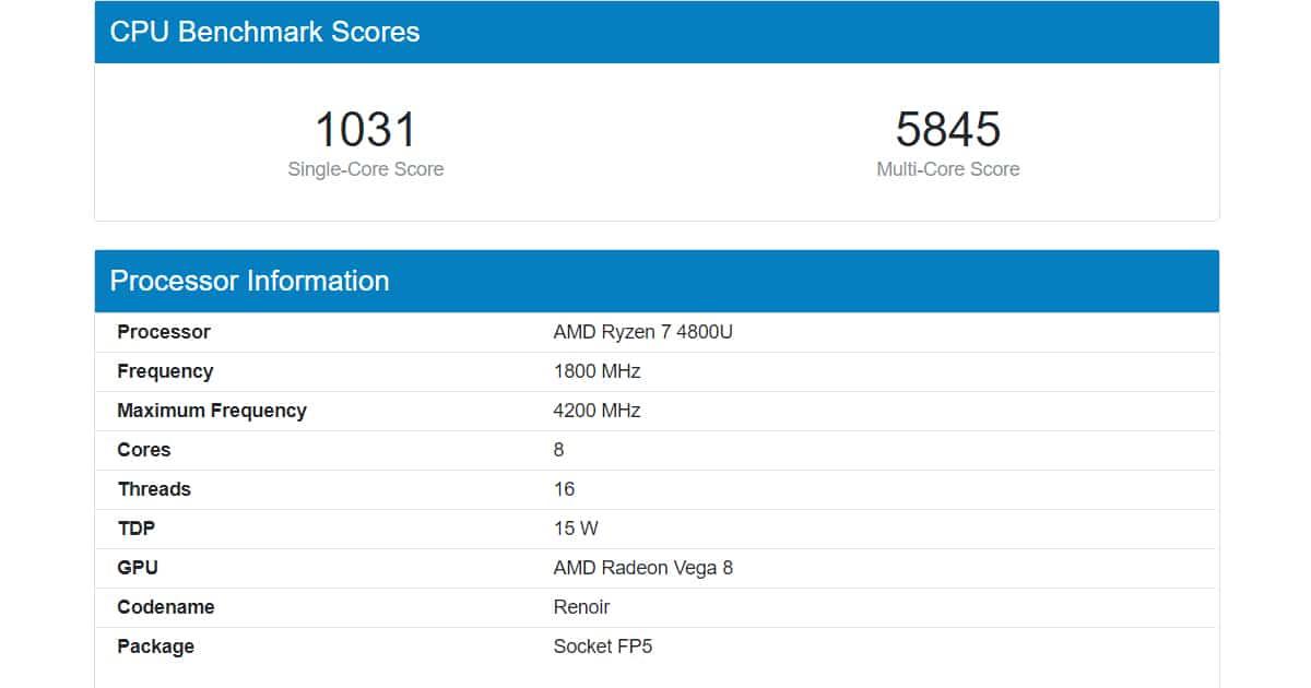 Ryzen 7 4800U performance