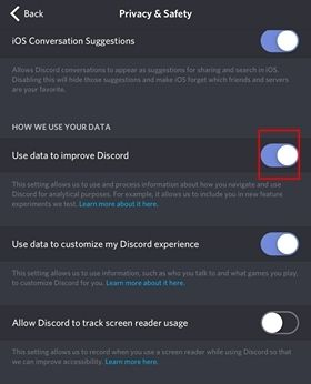 Disable Use Data to Improve Discord.