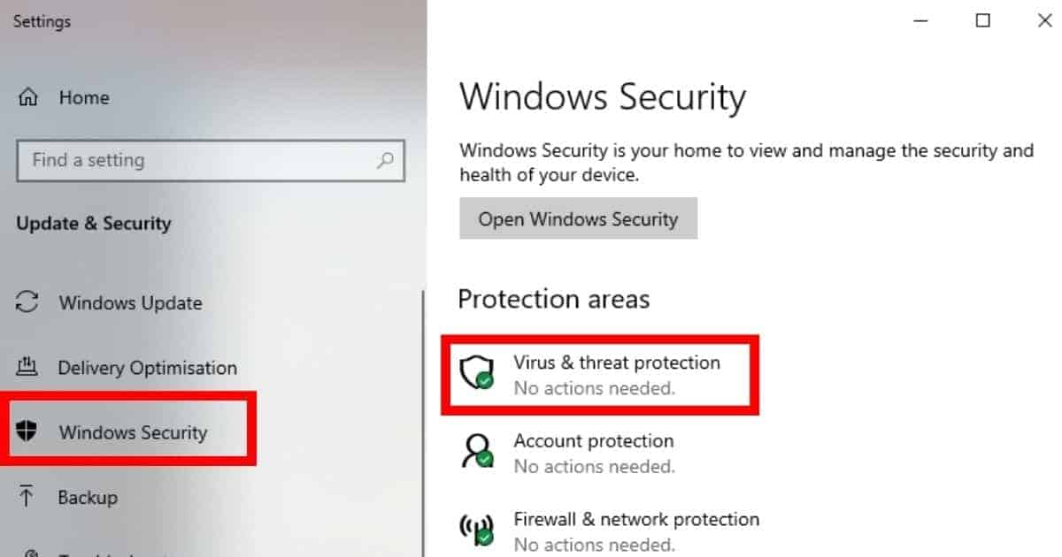 In windows settings, Go to Update and Security > Windows Security > Virus and Security