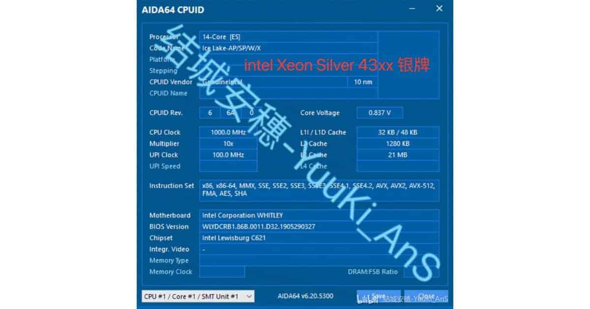 Xeon 14core IceLake specs