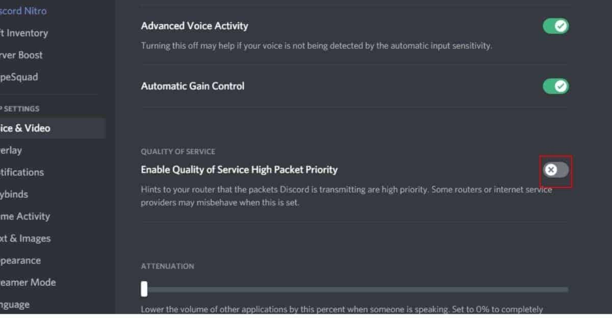 Disable Quality Of Service High Pocket Priority