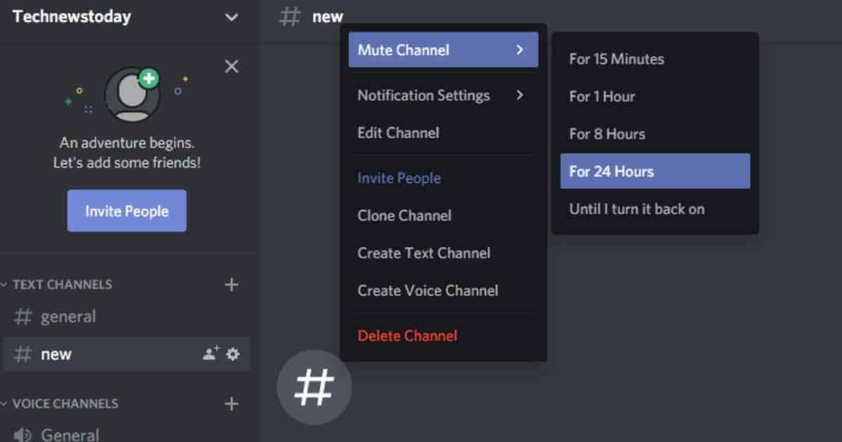 Right-click on the channel name and select Mute Channel