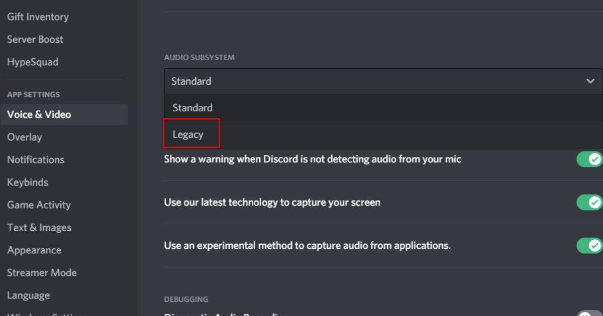 Go to user settings > Voice and Video > Audio Subsystems > Legacy