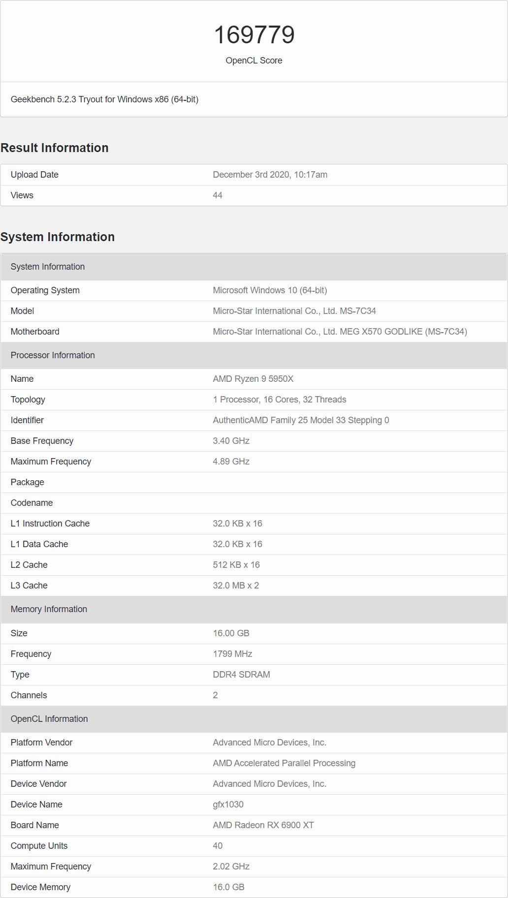 AMD Radeon RX 6900 XT OpenCL Benchmark Leak