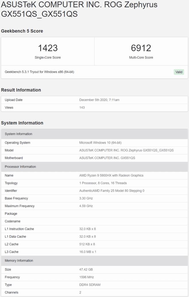 AMD Ryzen 9 5900HX Zen 3 Leaked Benchmarks