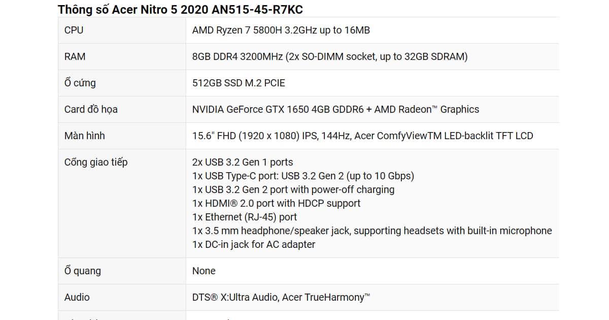 Acer Nitro5 GTX1650