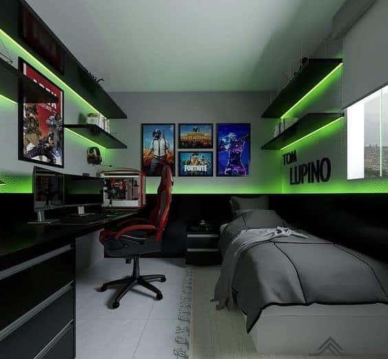 Bedroom gaming setup