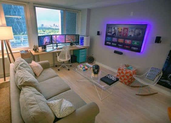 Living room gaming setup