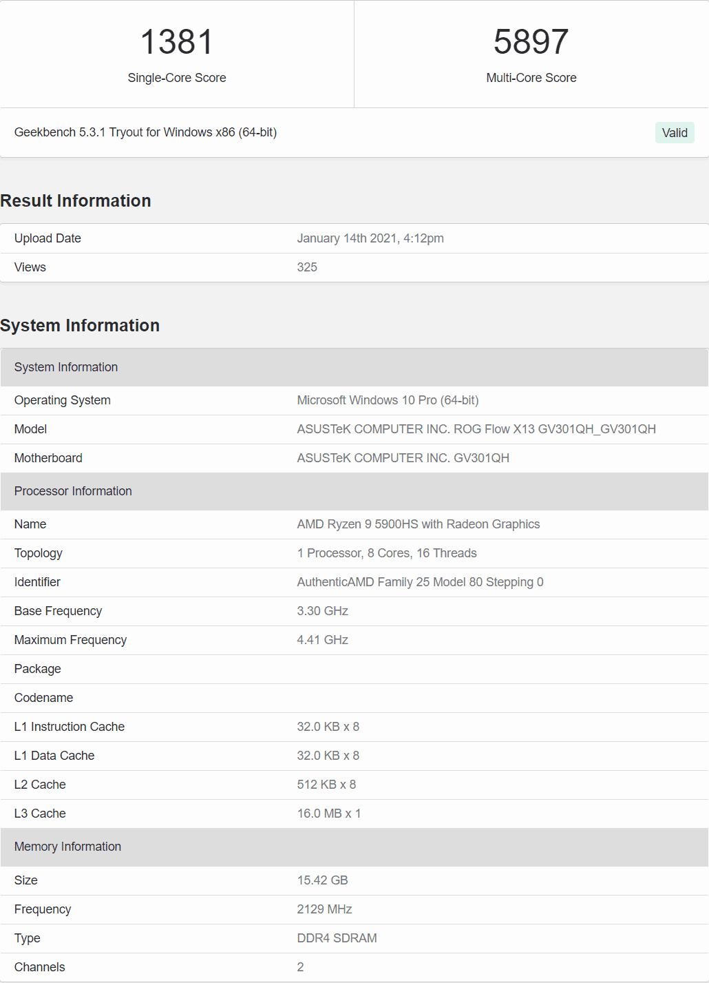 AMD Ryzen 9 5900HS Cezanne Zen 3