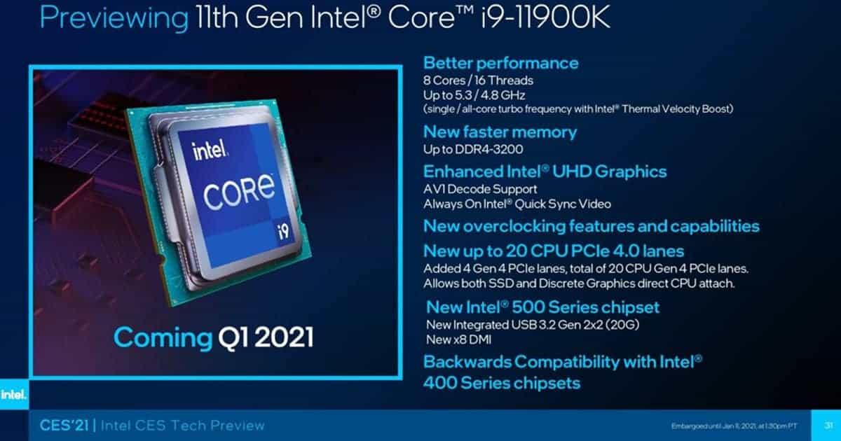 Core i9 11900K CES2021