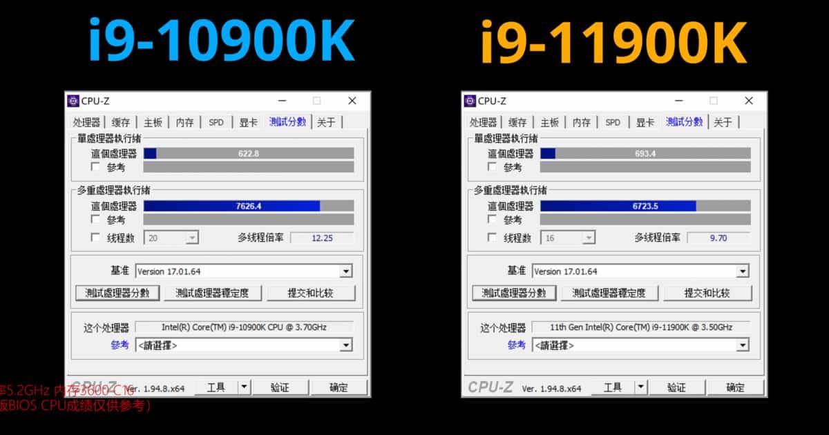 Corei9 11vs10 gen CPUZ