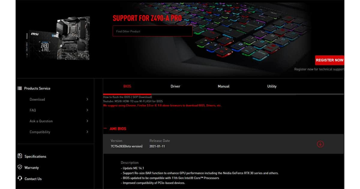 MSI Z490 Pro motherboard
